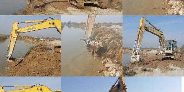 انجام عملیات ترمیم و تثبیت آبشستگی در برم رودخانه کرخه نور