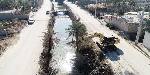 پاکسازی انهار سنتی جزیره مینو شهرستان خرمشهر